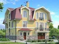Фото красивого трехэтажного дома общей площадью 256 кв.м.