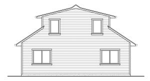 Небольшой двухэтажный дом - эскиз, вид сзади
