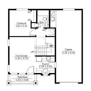 План первого этажа небольшого двухэтажного дома