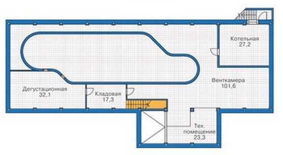 План цокольного этажа каркасного одноэтажного дома