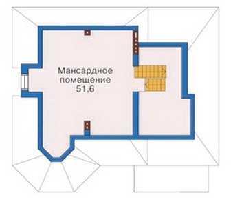 План мансардного этажа красивого трехэтажного дома