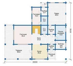План первого этажа большого деревянного дома