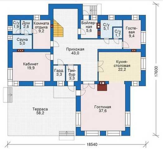 План первого этажа дома для большой семьи