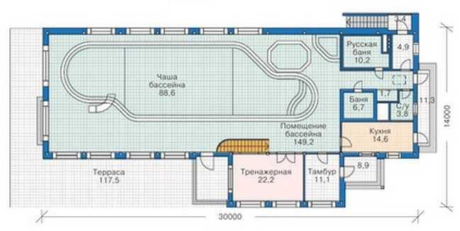 План первого этажа каркасного одноэтажного дома