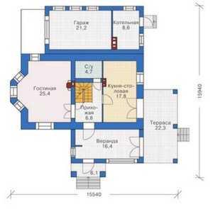 План первого этажа коттеджа на фото