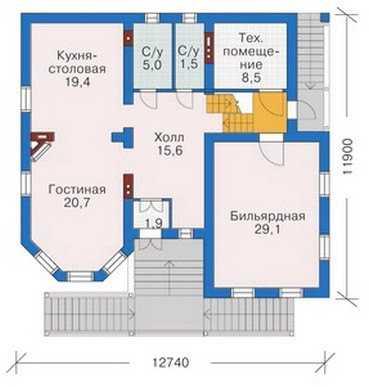 План первого этажа красивого трехэтажного дома