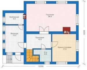 План первого этажа небольшого дома с мансардой