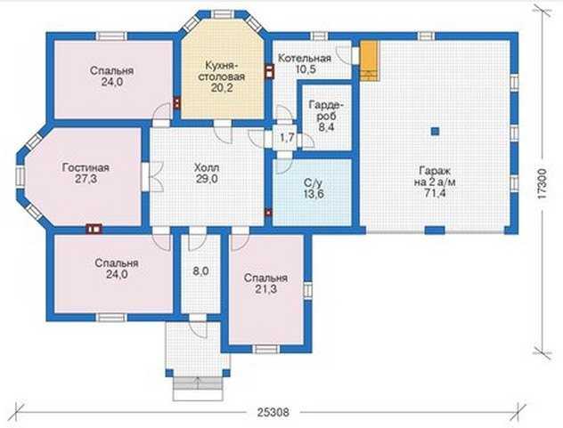 План первого этажа проекта коттеджа бесплатно