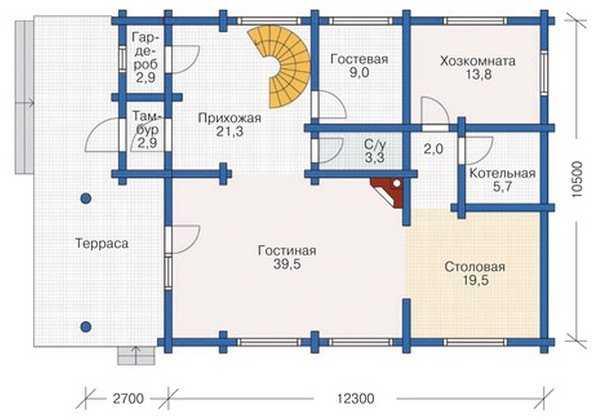 План первого этажа трехэтажного деревянного дома