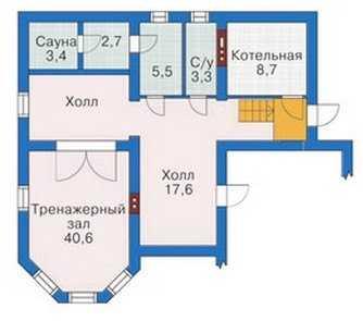 План подвального этажа красивого трехэтажного дома