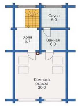 План третьего этажа трехэтажного деревянного дома