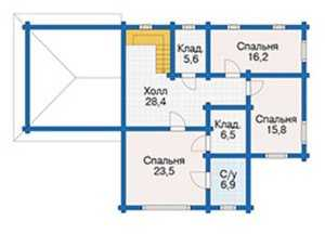 План второго этажа большого деревянного дома