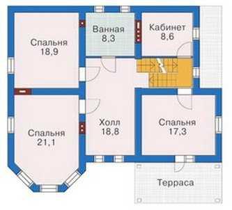 План второго этажа красивого трехэтажного дома