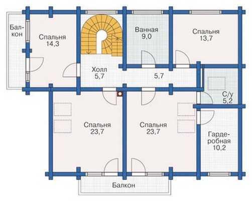 План второго этажа трехэтажного деревянного дома