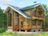 Фото трехэтажного деревянного дома общей площадью 205 кв.м.