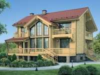 Фото трехэтажного деревянного дома общей площадью 326 кв.м.
