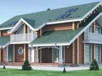 Фото трехэтажного деревянного дома общей площадью 373 кв.м.