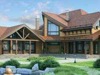 Фото болшого деревянного дома общей площадью 386 кв.м.