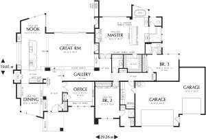 План большого одноэтажного дома (размеры комнат указаны в футах)