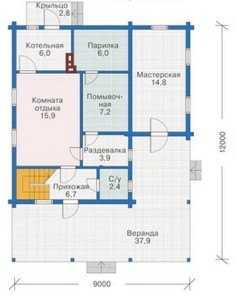 План первого этажа бани с мансардой