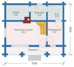 План первого этажа бани с басейном