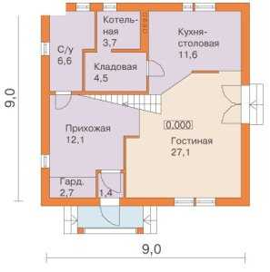 План первого этажа двухэтажного дома 9 на 9