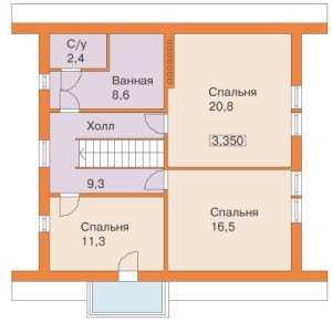 План второго этажа дома 9 на 9