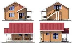 Фасады двухэтажной бани