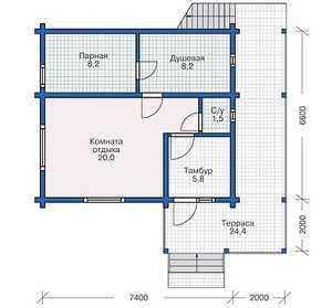 План первого этажа бани с террасой