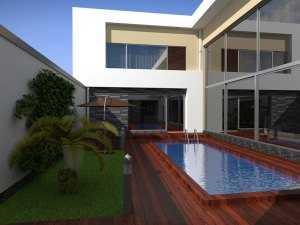 Пример дома в стиле хай тек, вид на бассейн