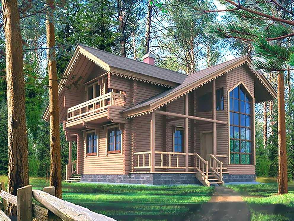 Общий вид двухэтажного дома 10 на 10