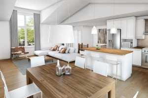 Интерьер дома в стиле шале: зал,кухня