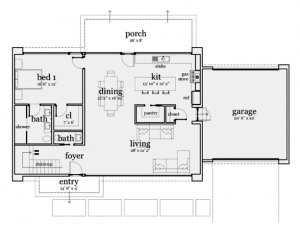 План первого этажа дома в стиле хай тек, размеры указаны в футах (1 фут = 0,3 м)