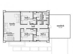 План второго этажа дома в стиле хай тек, размеры указаны в футах (1 фут = 0,3 м)