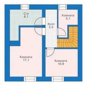 План мансардного этажа коттеджа из пеноблоков