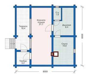 План одноэтажного дома 8 на 8 метров