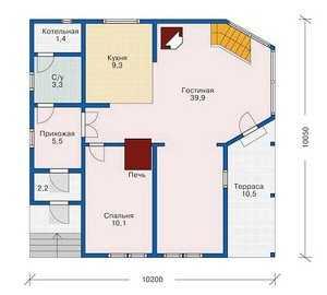 План первого этажа двухэтажного дома 10 на 10