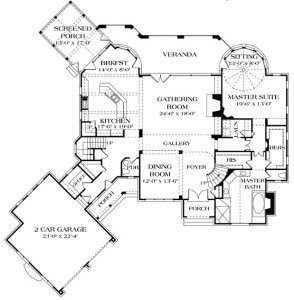 план первого этажа дома в стиле Прованс