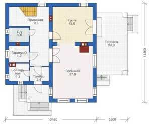 План первого этажа одноэтажного дома 10 на 12