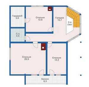 План второго этажа двухэтажного дома 10 на 10