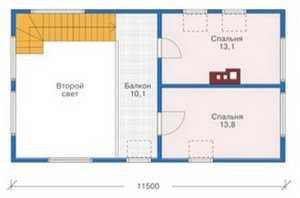 План мансардного этажа дома в скандинавском стиле