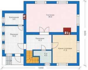 План первого этажа коттеджа с мансардой
