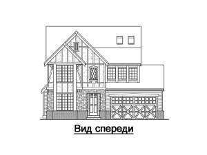 Фасад спереди дома в стиле фахверк