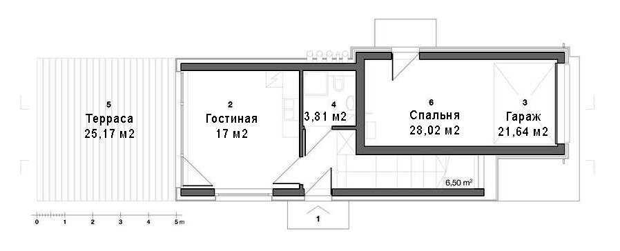 План небольшого дома с гаражом