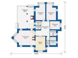 План одноэтажного кирпичного дома