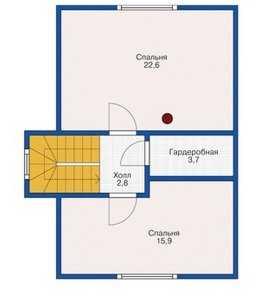План второго этажа небольшого деревянного дома