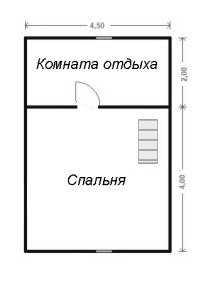План мансардного этажа бани 6x6 с мансардой