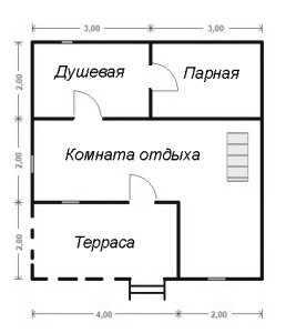 План первого этажа бани 6x6 с мансардой