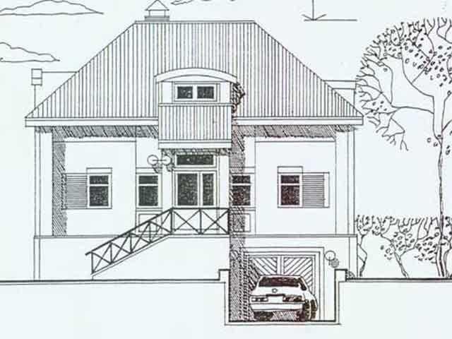 эскиз дома с подземным гаражом