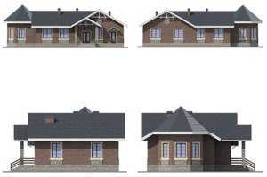 Фасад небольшого кирпичного дома